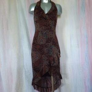 Brown & Blue Paisley Hi Lo Halter Dress